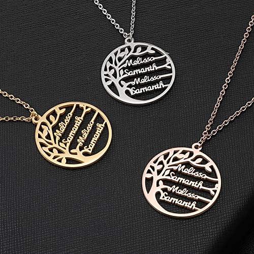 Collier avec nom Gaosh en argent Sterling 925 Personnalis/é avec vos 4 noms avec larbre de la vie Nimporte quel nom pour lanniversaire de la femme