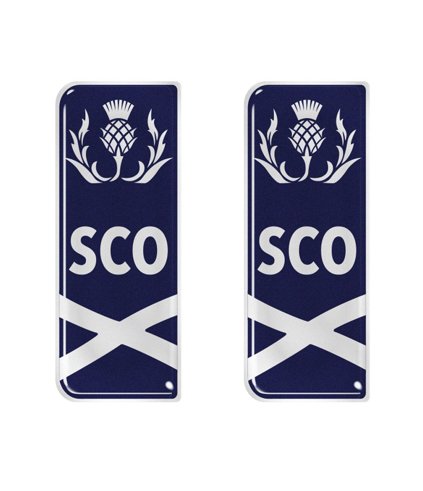 Scotland Thistle Wavy Flag Number Plate Decals