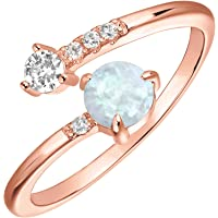 PAVOI 14K Gold Dipped Adjustable Sideways Opal Ring Celebrity Style Double Wrap Layering Stackable Ring Wedding Gift…