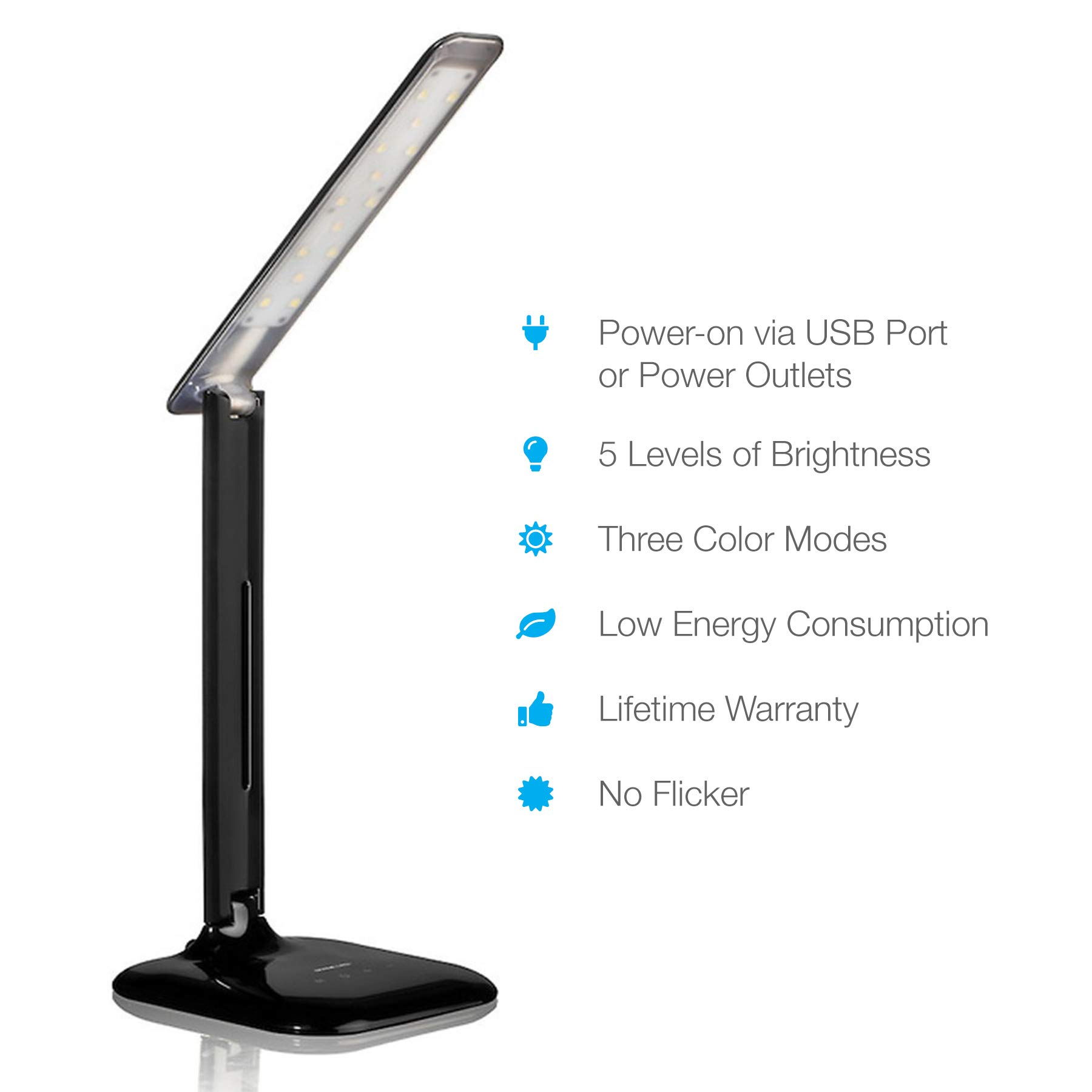 Vont Dimmable LED Desk Lamp - Elegant, Modern and Adjustable - 3 Colors - 5 Brightness Levels - Reading, Studying & Relaxation Modes -Environmentally Friendly - Black by Vont (Image #2)
