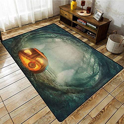 Bedroom Rug,Halloween,Drawing of Scary Halloween Pumpkin Enchanted Forest Mystic Twilight Party Art,Large Area mat Orange -