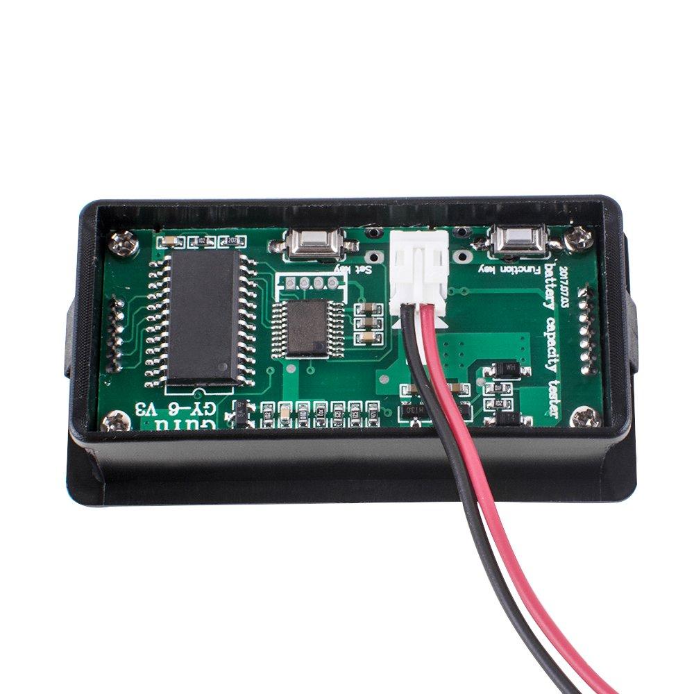 Pevor LCD Digital DC 6-63V Lithium Battery Capacity Tester Indicator 12V/24V/36V/48V LCD Digital Battery Capacity Monitor Panel Gauge Green Backlit