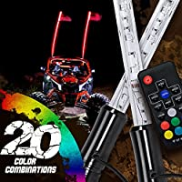 2pc 4ft LED Whip Lights w/Flag [21 Modes] [20 Colors] [Wireless Remote] [Weatherproof] Lighted Antenna Whips - Accessories for ATV Polaris RZR 4 Wheeler