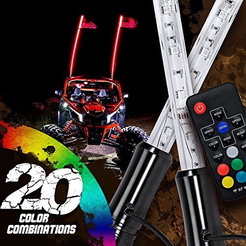 (2pc 3ft LED Whip Lights w/Flag [21 Modes] [20 Colors] [Wireless Remote] [Weatherproof] Lighted Antenna Whips - Accessories for ATV Polaris RZR 4 Wheeler)
