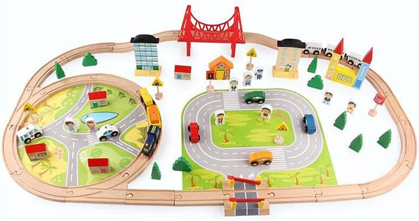 Track toy Juego de 82 pequeños Trenes de Madera para niños en Edad temprana, Escuela Primaria y niños de 3 a 6 a 9 años de Edad: Amazon.es: Hogar