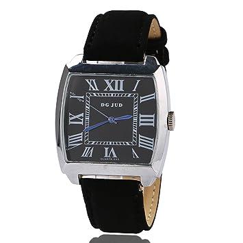 swall owuk Roman Escala Student Relojes para hombre, cuadrados (Negro)