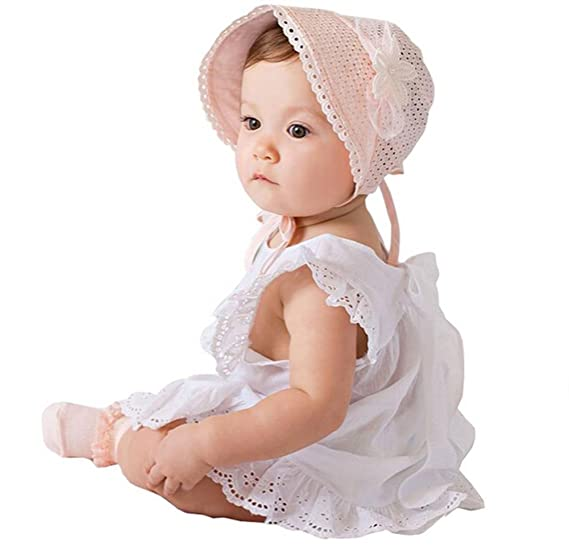 Toddlers Baby Girls Adjustabe Lace Flower Sun Hat Cap Summer Cotton Bonnet  (Pink) 2b77e154ac5f