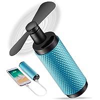 C&Xanadu - Ventilateurs à main, petit ventilateur USB, batterie rechargeable 2200mAh, temps de travail 8-12h, pour le voyage, shopping et football, ventilateur de refroidissement pour femme - Bleu lac