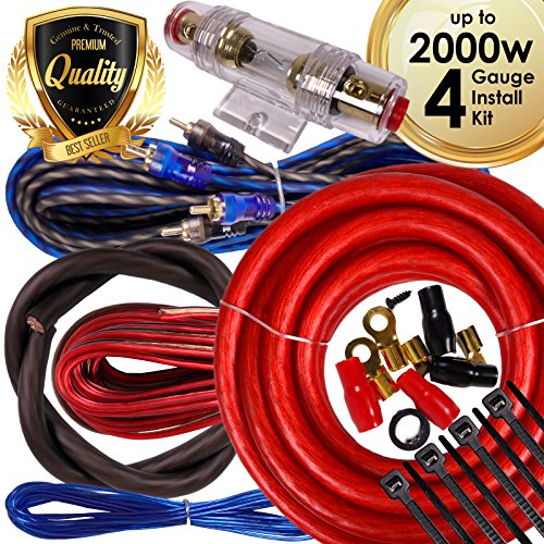Complete 2000W Gravity 4 Gauge Amplifier Installation Wiring Kit Amp PK3 4 Ga Red - For Installer and DIY Hobbyist - Perfect for Car / Truck / Motorcycle / RV / ATV - Gravity Kit