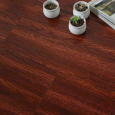yazi Flooring Tiles Decorative Film Self Adhesive Vinyl Water Proof Floor Tile Red Wood 23x12inch Pack of 6