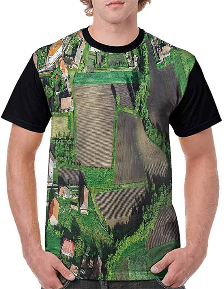 Vintage T-Shirt,Agriculture Theme Village Fashion Personality Customization