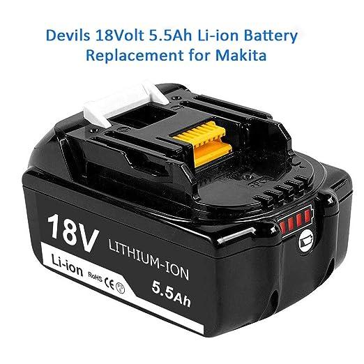 Reoben 2X de BL1860B 18V5.5AH Bater/ía de iones de litio Reemplazo para Makita BL1860B BL1850B BL1840B BL1830B BL1860 BL1850 BL1840 BL1830 LXT-400