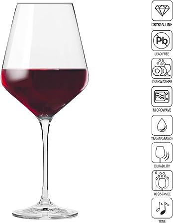 Krosno Copas de Vino Tinto | 490 ML | Avant-Garde Collection Uso en Casa, Restaurante y en Fiestas | Apto para Microondas y Lavavajillas