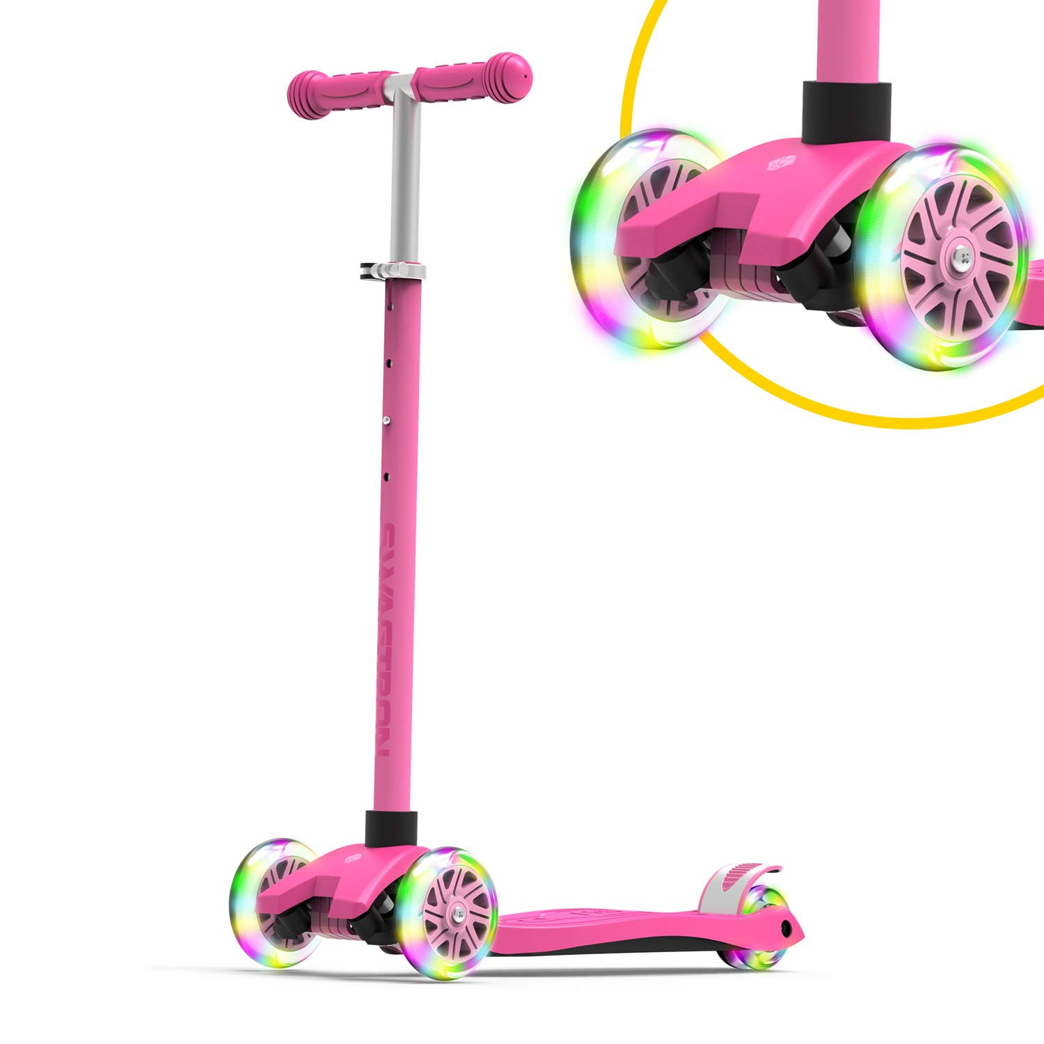 Swagtron K5 3-Wheel Kids Scooter with Light-Up Wheels | Quick Assembly | ASTM-Certified | Height-Adjustable for Boys or Girls Ages 3+ (Pink)