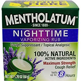 Mentholatum Nighttime Vaporizing Rub with soothing Lavender essence, 1.76 oz. (50 g) – 100% Natural Active Ingredients for Maximum Strength Cough Relief