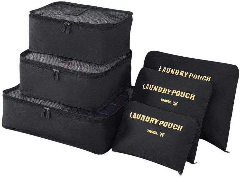 Vicloon Organizador de Equipaje, 6 en 1 Set de Organizadores de Viajes, Impermeable Organizador de Maleta Bolsa Incluir 3 * Cubos del Embalaje del Recorrido y 3 * Bolsos de la Compresión (Negro)