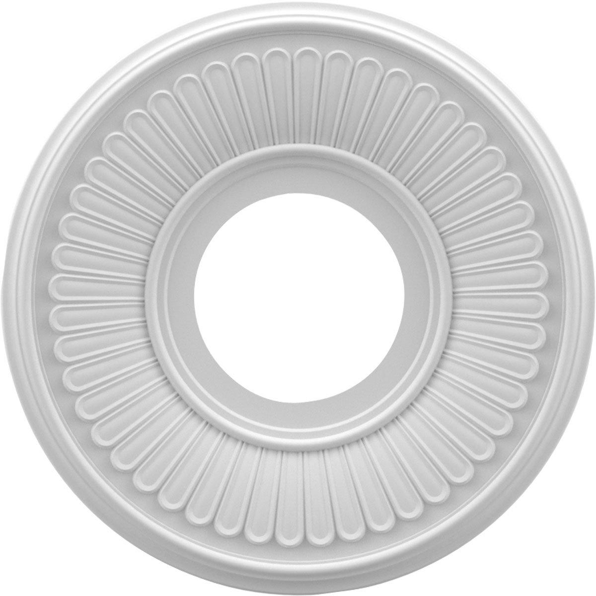 Ekena Millwork CMP10BE Berkshire Medallion Thermoformed Pvc Ceiling, 10'' OD x 3 1/2'' ID x 3/4'' P, White