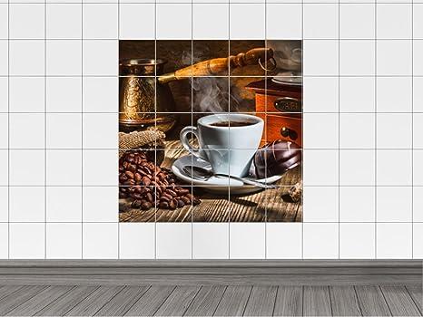 Piastrelle adesivo piastrelle stampa su tazza da caffè con torte
