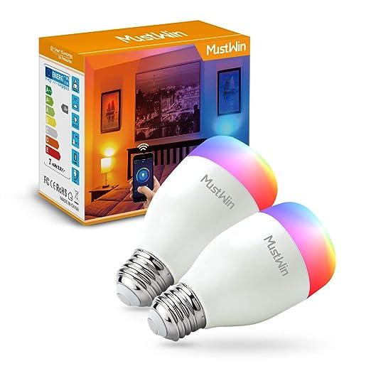MustWin Bombillas LED inteligentes regulables, E27 bombillas de Wi-Fi que funcionan con Alexa