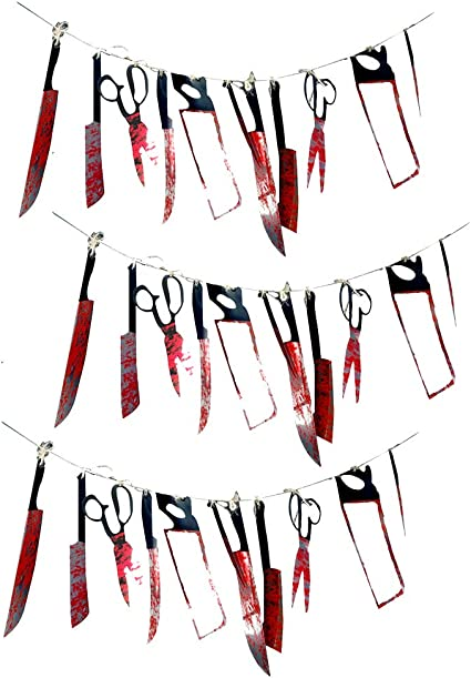 Great for Haunted House Decoration Zombie Vampire Party Props Supplies Halloween Bloody Weapons Garland Banner WOVTE Halloween Scary Party Decoration Props Sets Indoor and Outdoor