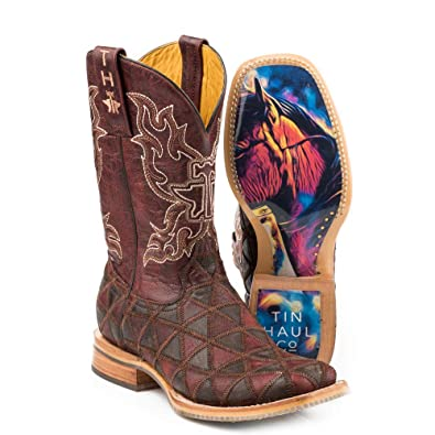 cedffe44655 Amazon.com | Women's Tin Haul A Cute Angle Boots with Colorful Horse ...