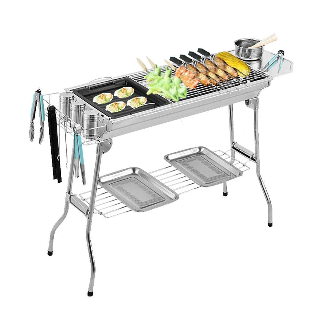 Grill Multifunktionale Edelstahl Ausrüstung Multi-Person Folding Tragbare Kohle Ofen Outdoor-Home Holzkohle (74  33,5  70 cm) 3 Zubehör