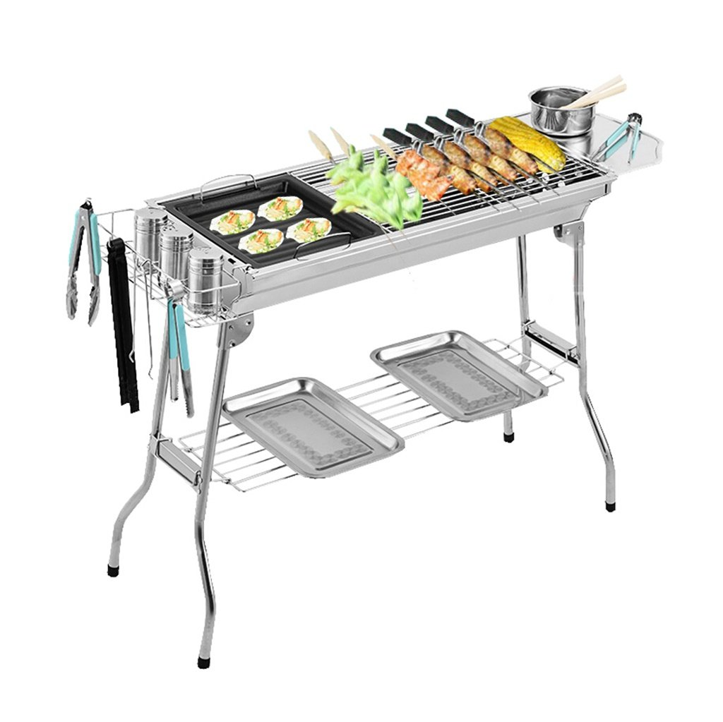 ALUS- Multifunctional Stainless Steel Barbecue Equipment Multi-Person Folding Portable Carbon Oven Outdoor Home Charcoal Grill (7433.570CM) (Barbecue + 3 Accessories)