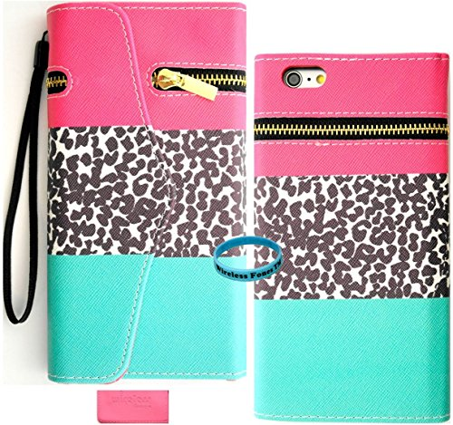iPhone 6s Plus Case, iphone 6s Plus Wallet, Wireless Fones TM Unique wallet PinkTeal leopard Zipper Design Print Case Cover with PU Leather and Card Slots/Wristlet for iPhone 6s Plus