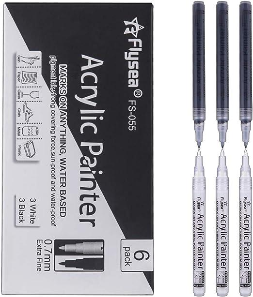 6 Marqueurs Peinture Acrylique Noir Blanc 0 7mm Stylos De Peinture Acrylique Pour Bois Diy Dessin Tissu Verre Carte De Noël