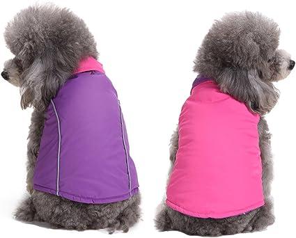 Aisuper Dog cappotto imbottito reversibile Cozy gilet per