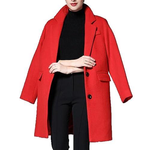 Las Nuevas Mujeres De La Capa Suelta Tienda De Moda Abrigo Largo De Lana,Red-XL