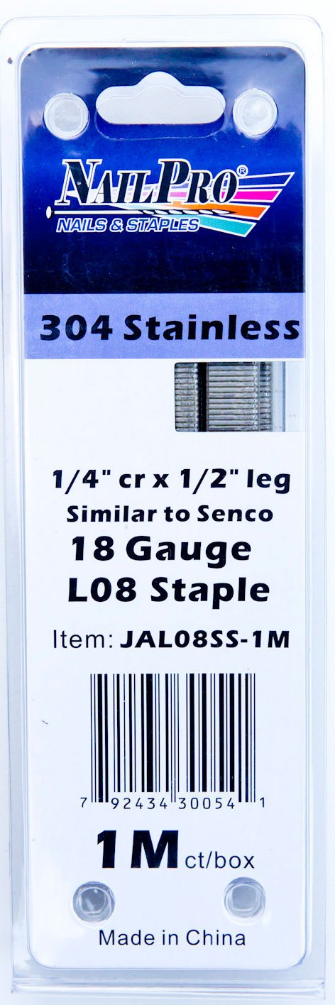 NailPRO L08SS 1/2' Leg x 1/4' Stainless Steel Narrow Crown Staples, 1000 Count Steelhead