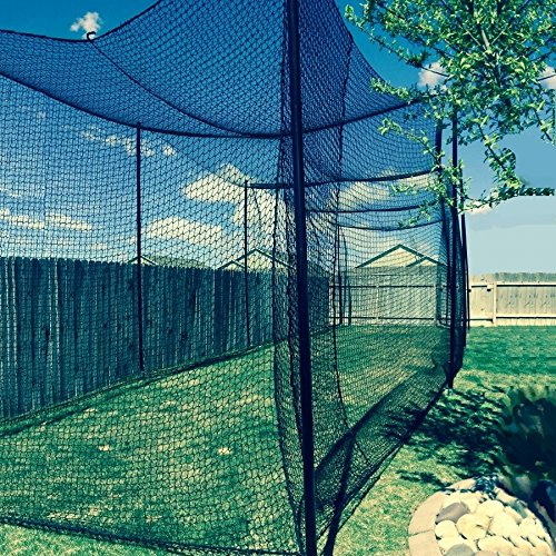 12' High X 12' Wide X 55' Long Batting Cage Net, #36 Polypro Netting, Rope Bordered with Door by Gourock