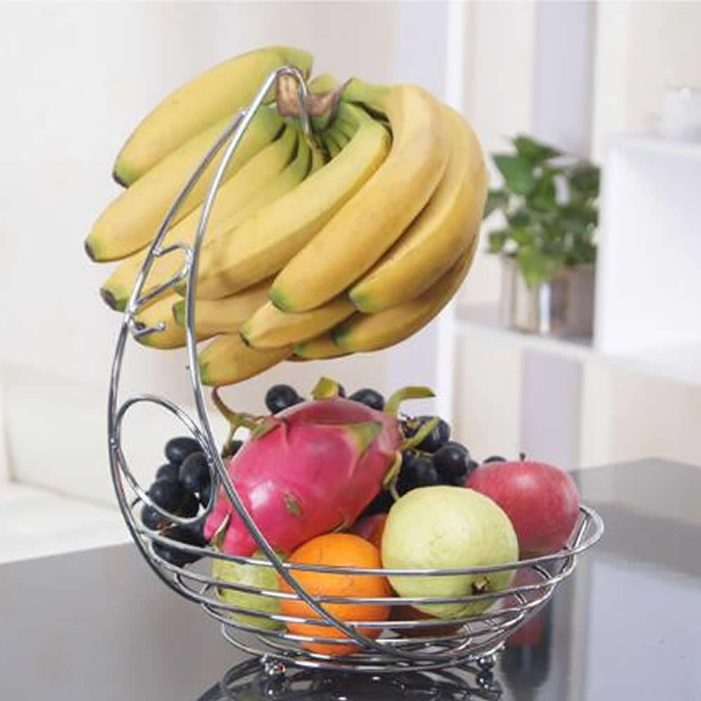 Huiee Fruit Basket Fruit Bowl Display Rack Banana Hook Metal