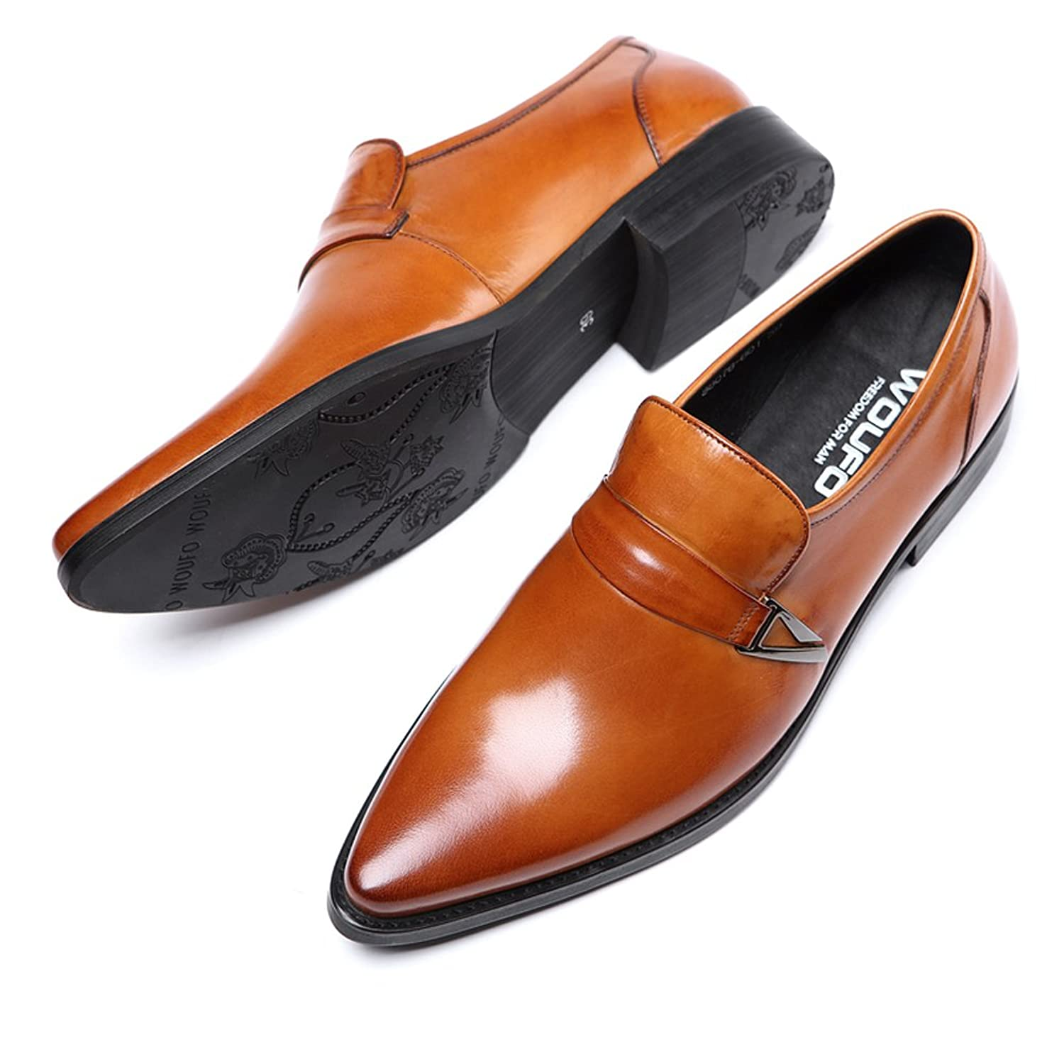 New Loafer Shoes/Innovative Penny ShoesGenuine LeatherPlain Pointed ToeRubber Sole; Fashion and Formal;Red US6.5=EU39