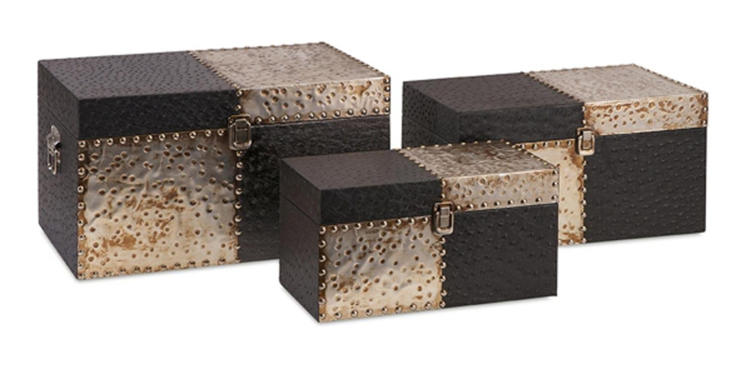 Set of 3 Contemporary Faux Ostrich Leather Checkerboard Hammered Metal Storage Trunks