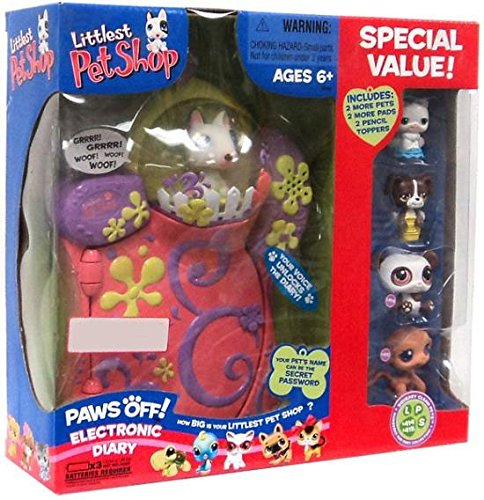 Littlest Pet Shop Paws off Electronic Diary + 2 pets (Monkey and Panda) + 2 Pencil Toppers (Dog and Cat) + 2 More Pads