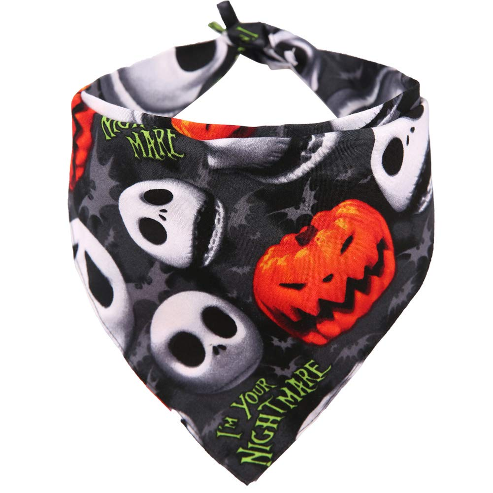 KZHAREEN Halloween Dog Bandana Reversible Triangle Bibs Scarf Accessories for Dogs Cats Pets Large