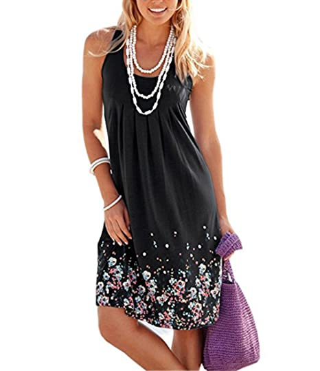 6ee81cf9751b6 FASHOME Womens Summer Casual Sleeveless Mini Printed Vest Dresses Loose  Floral Pleated Sundress A-Line