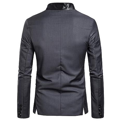 Hombres Jacket Outerwear Tops Blazer Chaqueta Slim Fit Hombres Elegante Uno BotóN Blazers Ligero Casual Trajes Capa Sólido Botón Traje Solapa Chaqueta Tops: ...