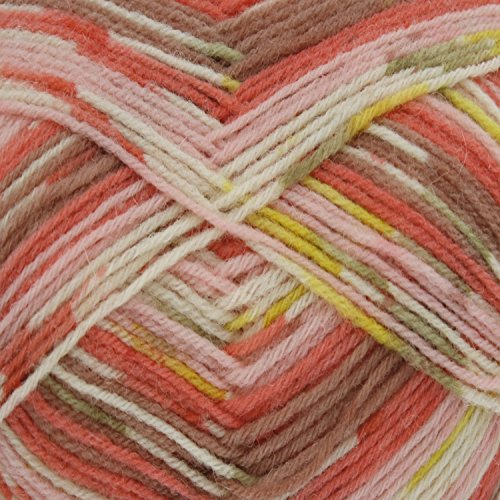 King Cole Zig Zag 4 Ply Superwash Knitting Wool & Nylon 100g Ball Craft Sock Yarn (Corals - 3234)