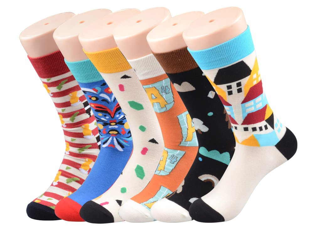 PUTON Men's Fun & Funky Colorful Cotton Dress Socks (Assorted 8)