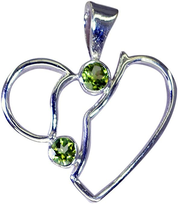 55Carat Natural Green Peridot Sterling Silver Pendant for Women Charms Astrological Round Shape August Birthstone