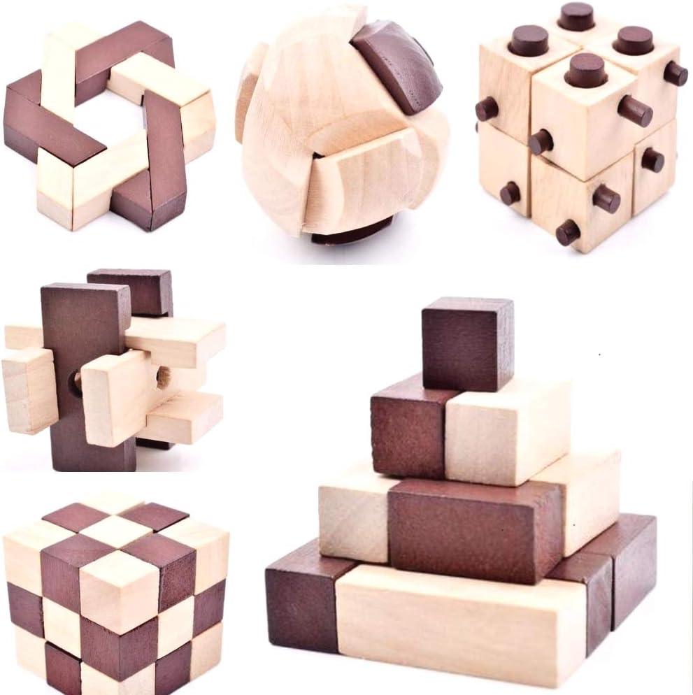 B&Julian, IQ rompecabezas, juego de rompecabezas de madera 3D, 10 juegos de puzzle para adultos y niños