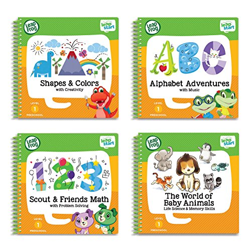 LeapFrog LeapStart Preschool 4-in-1 Activity Book Bundle with ABC, Shapes & Colors, Math, (Best Leapfrog Enterprises Toddler Toys For Girls)