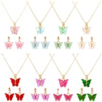feixun 8 Pairs Butterfly Necklace Earrings Set - Acrylic Butterfly Pendant Necklace, Butterfly Stud Earrings, Great for…