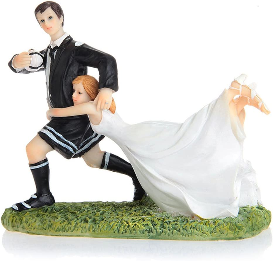 Riverbyland Funny Couple Rugby Figurine Wedding Cake Topper