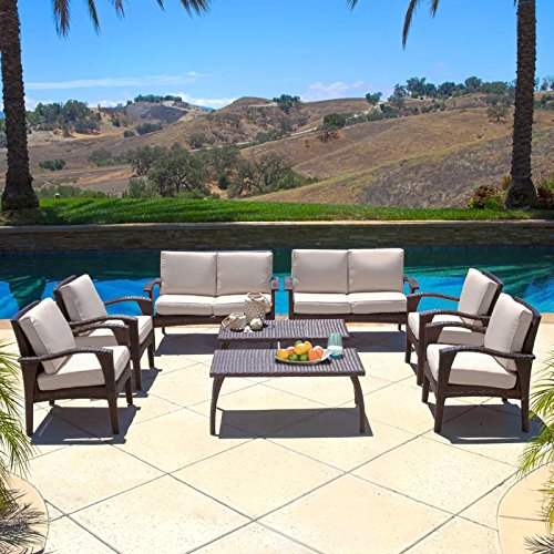 Diensday Outdoor Furniture|Sectional Chair Sofa Patio Sets Deep Seating Cushions Chat Set, Olefin Cushion, All-Weather PE Wicker, Coffee Table (8 Piece, ()