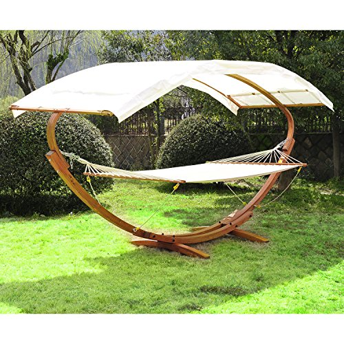 Outsunny Wooden Heavy Duty Double Hammock Stand with Sun Shade