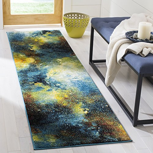 Safavieh Galaxy Collection GAL111B Abstract Watercolor Blue and Multi Area Rug (3' x 5')